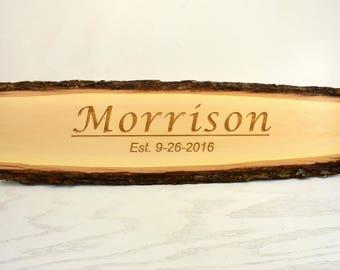 Personalized Family Name Bark Edge Door Topper