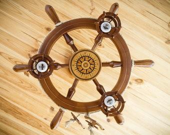 Wooden chandeliers / luster helm / nautical chandelier / wood steering wheel /