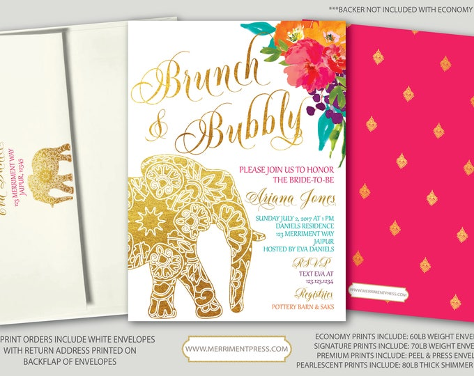 Indian themed Brunch & Bubbly Bridal // Bollywood // Elephant // Paisley // Gold // Floral // Pink // Orange / Purple / JAIPUR COLLECTION