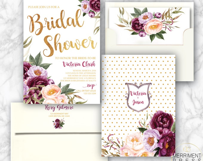 Burgundy Floral Bridal Shower Invitation / Wedding Shower / Watercolor / Purple / Pink / Flowers / Wine / Gold Foil / FLORENCE COLLECTION