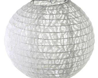 Vintage Lace Hanging Round Lantern, White