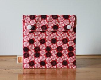 Reusable sandwich bag, reusable snack bag, fabric bag with Romantic print [#62], eco friendly, no waste lunch, washable bag, ProCare, useful