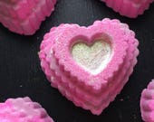 Amore. Heart shaped Bath Bomb with Biodegradable Glitter.  Organic Ingredients . Vegan. Made in Utah.