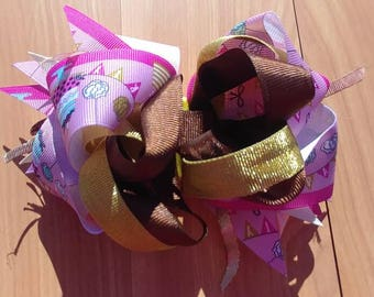 "Birthday Party OTT stacked boutique hairbow 5.5"" X 4"", handmade bow. OOAK ready to ship birthday cake"