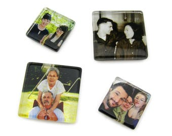 Custom Photo Magnet, Custom Gift, Personalized Magnet, Photo Gift, Glass Magnet, Neodymium, Strong, 1 inch, 25mm, 1-1/2 inch, 1.5 inch, 35mm