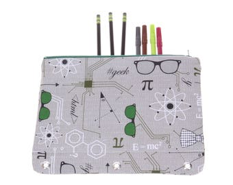 CLEARANCE science geek nerd 3-ring binder pencil case, 3-ring pencil pouch, 3 ring binder pencil case, school supply