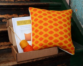 Knit Kit - Geometric Hand Knit Two Tone Pattern Cushion Cover
