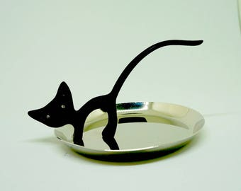 "Black Cat; Ring Holder; Ring Dish; Shiny Metal; Cat with Rubber Coating; Approx; 4.5""w x 3""h (tip of tail); Fun and Useful !!!"
