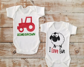 Farm Baby Gift Set - Organic Bodysuit Gift Set - Tractor Vest - Sheep Vest - Farmer Baby Boy - Young Farmer - Red Tractor - I Love You Sheep