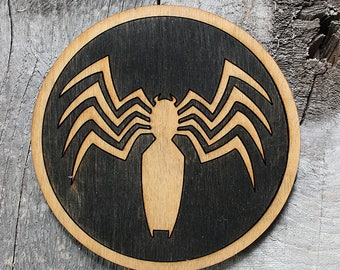 Venom Wood Coaster | Rustic/Vintage | Hand Stained and Glued | Comic Book Gift | Black Suit Spider-man