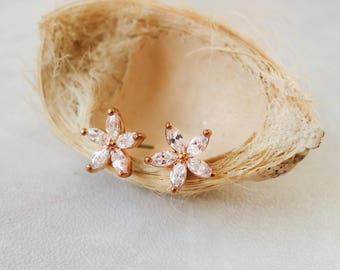 14K rose gold plated petite pedal flower earrings crystal cz stud flower earrings pierced earrings jewellery gift