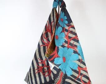 Origami Market bag from a Vintage Kantha Quilt, Kantha Quilt Bag, Kantha Tote bag, Origami Tote Bag, Repurposed textile bag, Reversible bag