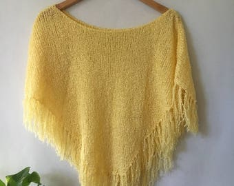 Vintage Knitted Poncho with Fringe / Boho Style / Summer Lightweight Poncho