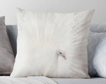 White Peacock Pillow, Peacock Decor, White Decor, White Throw Pillow, White Cushion, Peafowl, Bird Cushion, Neutral Pillow