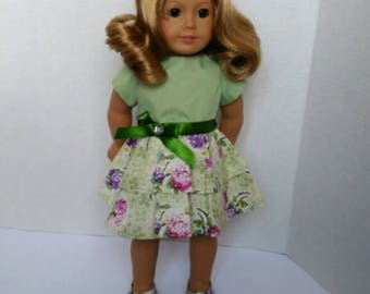 "Floral doll dress, fits American girl doll dress, green floral dress matching shoes, 18"" doll dress, American girl Easter gift for girl"