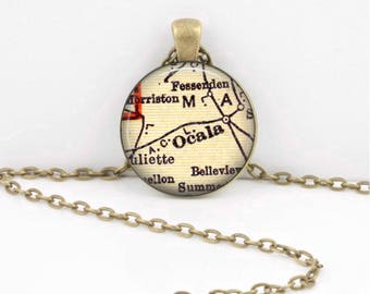 Ocala Florida Gulf Coast  Vintage Map  Geography Gift  Pendant Necklace or Key Ring