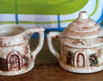 Vintage English Country Cottage Sugar Bowl and Creamer set