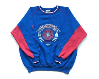 Adidas Scotland Rangers crewneck sweatshirt huge embroidered crest vintage 90s size large
