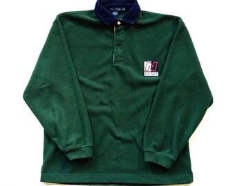 Vintage Nautica Yacht Club Blue Water Challenge longsleeve quarter zip fleece sweater size XL extra large, Forest Green Nautica Fleece