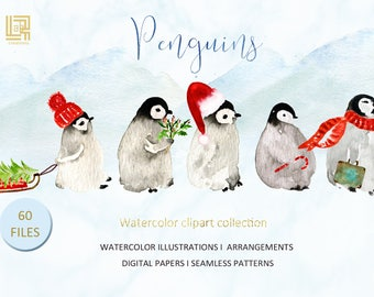 Winter Clip Art/ Penguins watercolor/Winter animals watercolour clip art/Birthday invitations Christmas Planner Stickers | Digital Cliparts