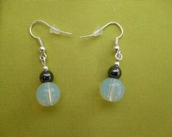 Semi-precious Moonstone and hematite bead earrings