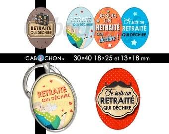 Retraité qui déchire ! • 45 Images Digitales OVALES 30x40 18x25 et 13x18 mm retraite cabochon cabochons badge moustache retraitee voyage