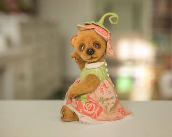 Big SALE 25%! Teddy bear Chloe is artist plush toy , brown stuffed toy, cute soft toy for gift,  adorable stuffed animal ! FREE SHIPPING !