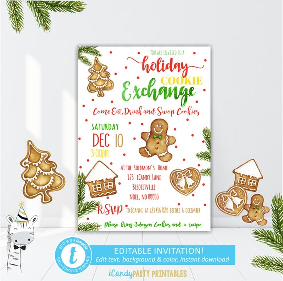 Christmas cookie party invitation editable christmas party christmas cookie party invitation editable christmas party template cookie exchange gingerbread christmas invitation instant download pronofoot35fo Choice Image