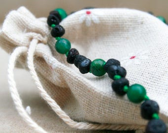 Baltic Amber Teething Necklace - Raw Cherry / African Jade