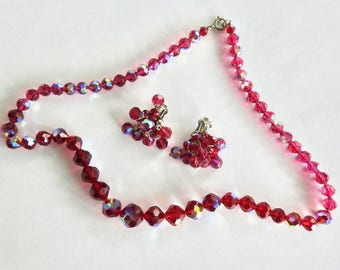 Laguna Aurora Red Crystal Necklace and Earrings