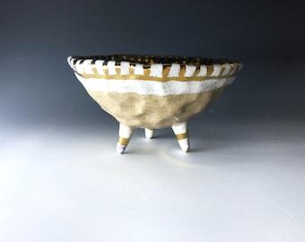 Gold & White Tri-pot, jewelry holder, jewelry dish, ring bowl, ring dish, earring holder, jewelry storage, pinch pot, handmade jewelry dish
