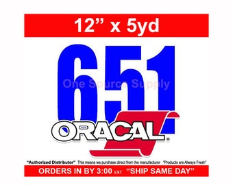 "12"" x 5 Yard Roll Oracal 651 Gloss Finish Vinyl - PSV- Craft Vinyl - Decal Vinyl"