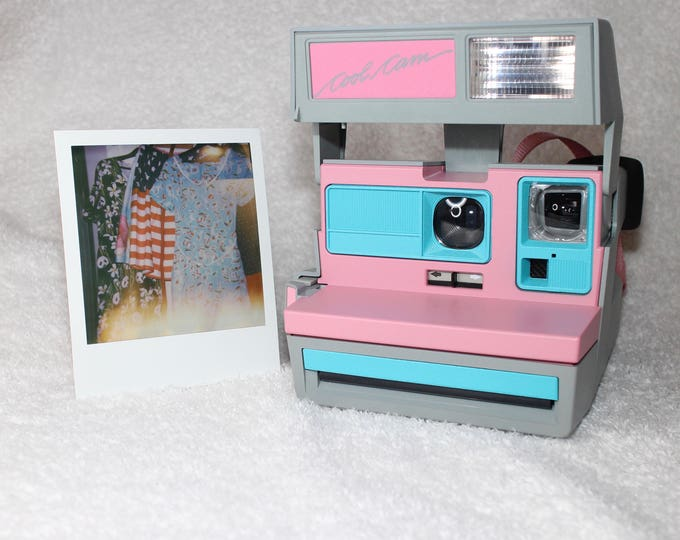 Pink CoolCam 600 Polaroid Camera Upcycled with Turquoise - Cleaned and Tested