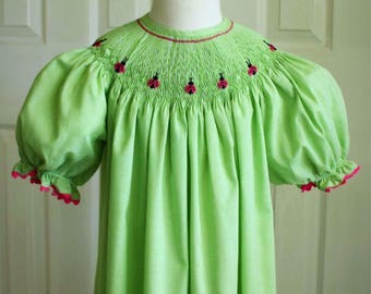 Smocked bishop dress (size 8)