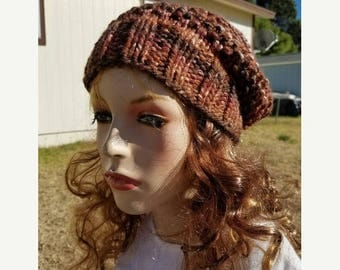 15% OFF SALE Handknitted slouchy hat, Ready to ship, Knitted hat, Knitted beanie, winter hat, Chocolate Mousse hat, knitted women's hat