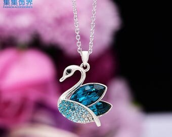 Swan Necklace Swarovski Element Necklace Crystal Pendant Necklace Anniversary Gift Birthday Gift NA510053