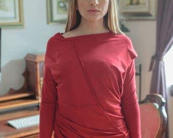 Red Tunic / Black Top / Oversize Tunic/ Woman beige tunic/ modern tunic