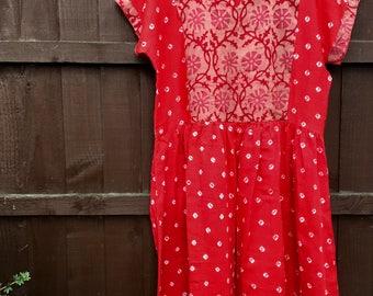 Red bandhani kurta • bandhani • indian tunic • indian kurta • red dress • oversized tunic