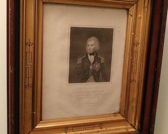 Antique Admiral Lord Viscount Nelson Duke of Bronti engraving in original gold leaves wood frame circa 1815