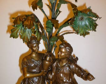 Large antique spelter figural girl and boy double lights French lamp base by RANCOULET circa 1890s