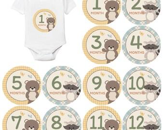 Milestone stickers boy woodland - Milestone stickers boy - Monthly baby stickers - Milestone stickers for babies - Baby milestone stickers