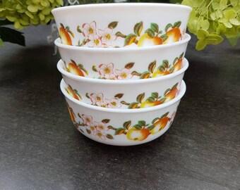 Vintage bowls, serving dish, Salad bowls of Arcopal France. Milk glass set of 4. With image fruit. Small bowls