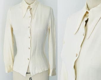 Vintage 60's Norman Todd of California Crepe & Satin Blouse l S