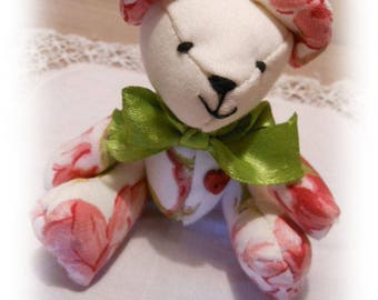 Teddy bear collection spring, floral pink and green