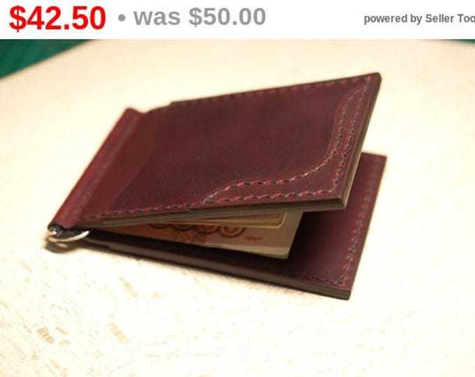 Campari Money Clip Leather/Small leather wallet/Leather Wallet/Momey clip wallet/Leather Card holder/Men's Leather Wallet