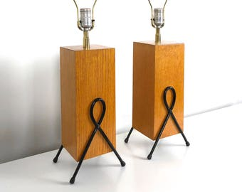 Pair 1950's Modernist Iron & Wood Table Lamps