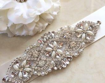 Any colour bridal sash belt ivory pearls wedding dress sash belt beaded sash jewelled sash belt wedding sash crystal rhinestone sash belt