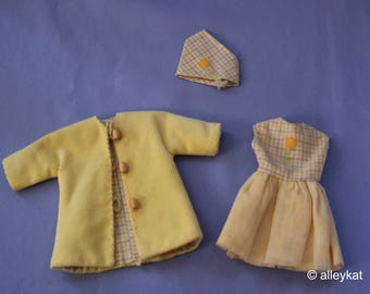 Vintage (Barbie) Skipper and Skooter Coat, Hat and Dress, Near Mint, Handmade/Mommy-made