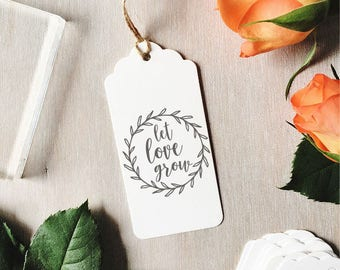 Let Love Grow Stamp | Pre-made Wedding Stamp - Wedding Favours - Save The Dates - Wedding Wreath