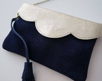 """Two-tone leather gold and blue mini pouch """"Mila"""" night with string"""